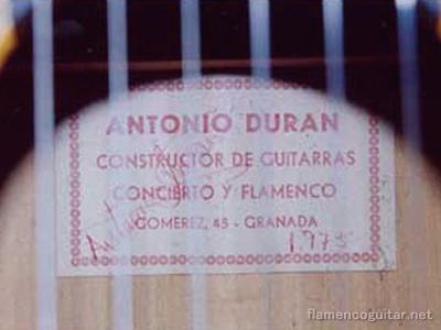 アントニオ・デュラン 1975 ラベル